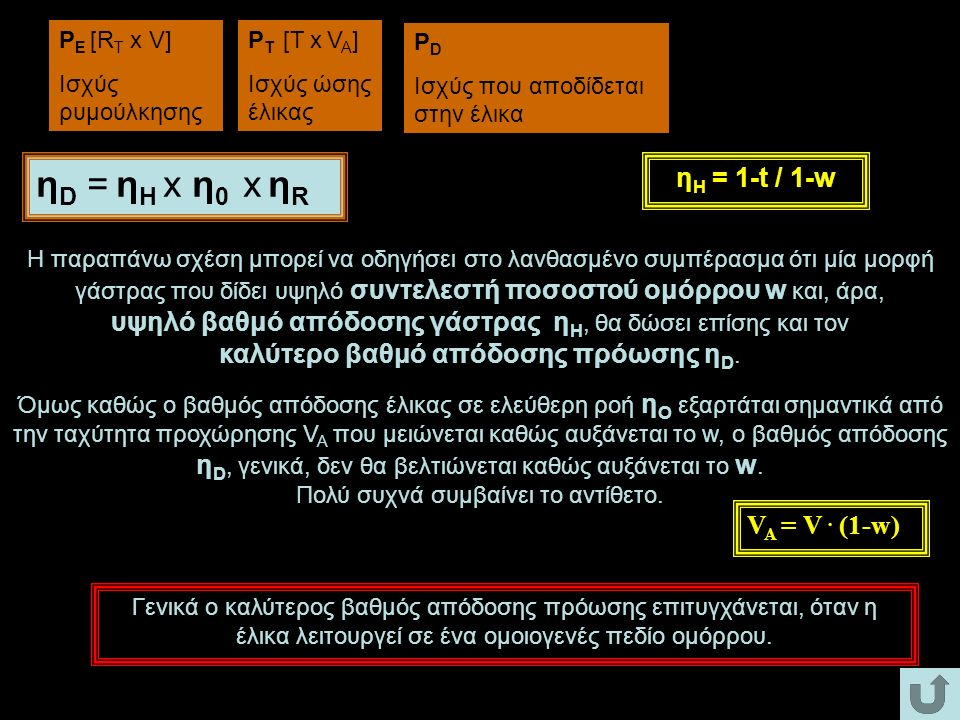 PE [RT x V] Ισχύς ρυμούλκησης. PT [T x VA] Ισχύς ώσης έλικας. PD. Ισχύς που αποδίδεται στην έλικα.